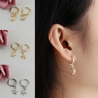 Pink Opps Trendy Gold Color Small Star Hoop Earrings for Women 2018 Ear Piercing Huggie Earrings Simple Charms Jewelry