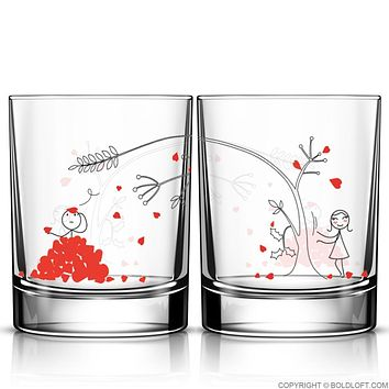 Love You Madly™ Couple Drinking Glass Set, His and Hers Couple Gifts, Couples Matching Gift, Valentines Day Gift for Him, Boyfriend Gift, Husband Gift, Anniversary Gift