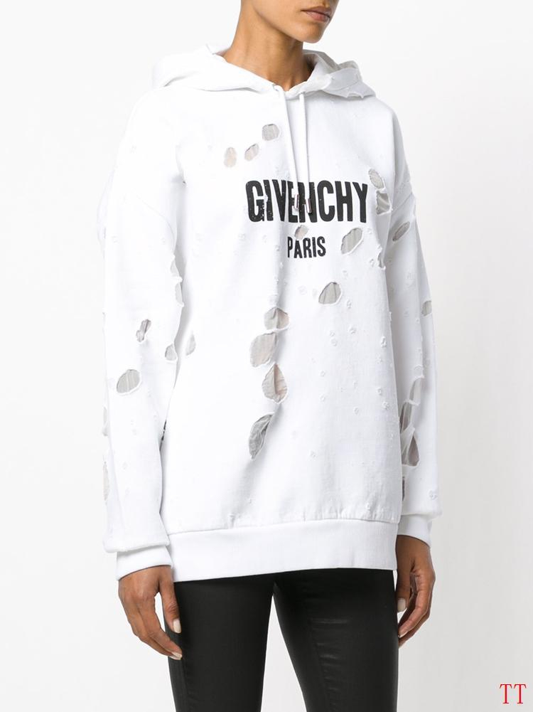 Image of Givenchy Woman Men Fashion Ripped Top Sweater Pullover