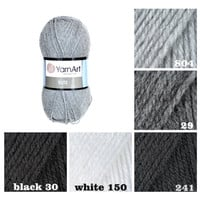 YarnArt ELITE, white, black, gray yarn, knitting acrylic yarn, crochet acrylic yarn, knitting supplies, scarf yarn, sock yarn, sweater yarn,
