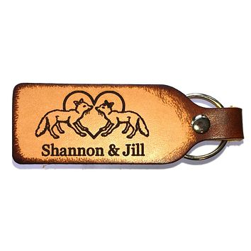 Fox Couple Leather Keychain with Free Customization