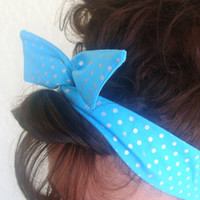Dolly Bow, Sky Blue Turquoise Metallic Polka Dots Wire Headband Rockabilly Pinup 50s