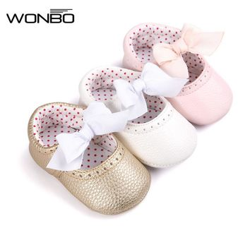 Soft Bottom Fashion Butterfly-knot Baby Moccasin Newborn Babies Shoes PU Leather Prewalkers Boots Non-slip Shoes for Baby Girls