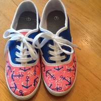 """Hand Painted Lilly Pulitzer Inspired Shoes """"Delta Gamma"""" Greek Print"""
