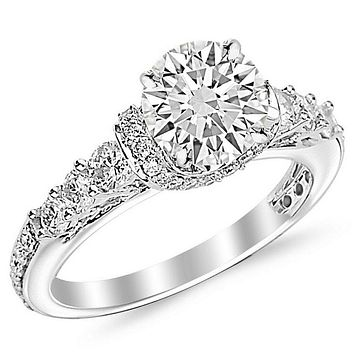 2 Carat Round Cut Designer Four Prong Round Diamond Engagement Ring (I-J Color, SI2 Clarity) 7