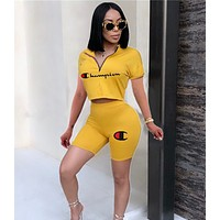Champion Classic Hot Sale Woman Print Short Sleeve Top Shorts Set Two Piece Sportswear Yellow