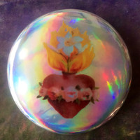 """SACRED HEART Holographic Romeo and Juliet Baz Luhrmann 90s Inspired 2.25"""" button"""
