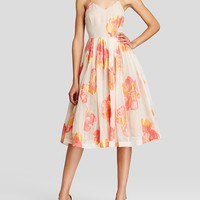 Tracy Reese Dress - Sleeveless Floral Print Organza Ballerina Slip