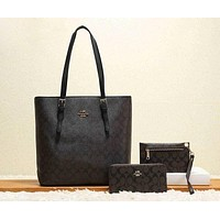 Coach Women Leather Handbag Tote Satchel Set Three Piece