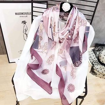 Spring Summer Women Temperament Fashion Double-Sided Flowers  Print Spell Color Stripe Silk Scarf Shawl