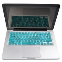 Case Star ® Feather Series High Quality Silicone Keyboard Cover Skin for MacBook 13-Inch Unibody / Macbook Pro 13, 15, 17-Inch and Apple Wireless Keyboard (White with Aqua Blue Feather)