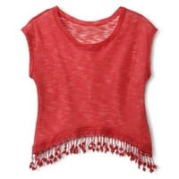 Junior's Knit Top with Fringe