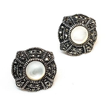 Art Deco style Mother of Pearl and marcasite sterling silver vintage button earrings 925