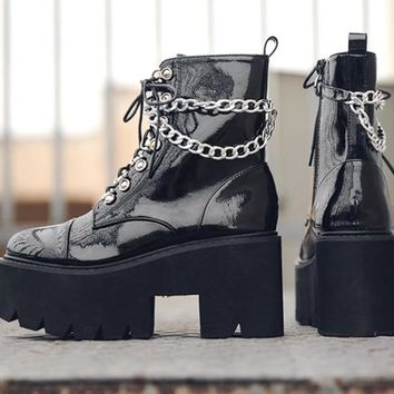 Women Fashion Patent Leather Chain Platform Ankle Boots
