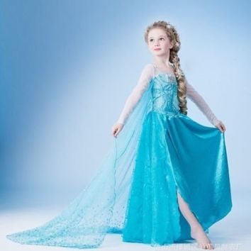 Disney Frozen Elsa Deluxe Costume, Frozen Princess Girl Kids Queen Elsa Anna Halloween Costume Party 110 Cm ,4-5 years old