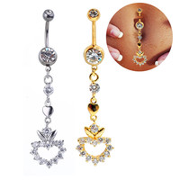 New Charming Dangle Crystal Navel Belly Ring Bling Barbell Button Ring Piercing Body Jewelry = 4672671236