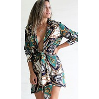 Between You and I Navy Chain Print Tie Mini Dress