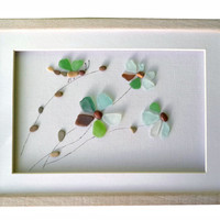 Genuine sea glass flowers and dragonfly, Natural home décor, Pebble Art new home gift, Unique framed wall art, Coastal beach house decor