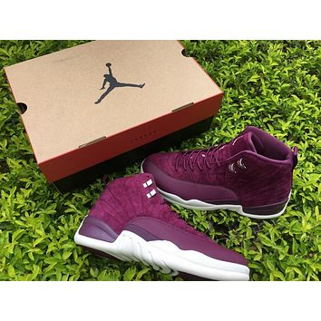 2017 Air Jordan Retro 12 shoe Bordeaux Wine Red Outdoor Trainer Sneakers US 5.5-13 with box
