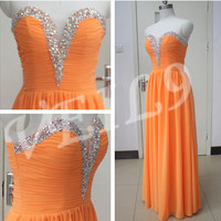 Fashion Orange prom dress Sweetheart Bridesmaid Gowns Long Hand Beading Sequins Orange Bridesmaid dress Yellow Cocktail Party dress