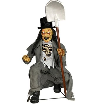 Crouching Grave Digger Animated Prop