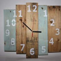 Pallet Wood Clock, Rustic Wooden Clock, Recycled Pallet Clock, Recycled wooden wall clock, Reclaimed Wood Clock with numbers