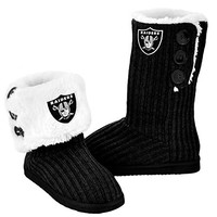 Oakland Raiders Official NFL Ladies Knit High End Button Boot Slippers