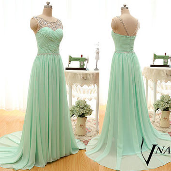 2015 New A Line Cap Sleeve Beaded Top Part Long Formal Mint Green Crystal Prom Dresses Crystal Formal Mint Green Eevening Party Dresses