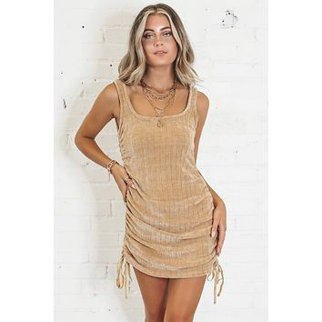 Wild Card Camel Side Ruched Dress
