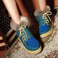 Fur Snow Boots Winter Lace Up Platform Shoes Woman 3321