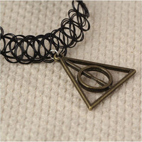 Harry Potter Deathly Hallows Stretch Choker Necklace