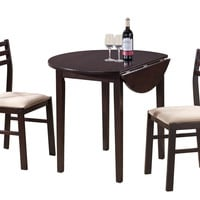 "Cappuccino 3 Piece Dining Set with a 36"" Round Drop Leaf Table"