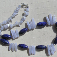 """Lapis Lazuli & Blue Chalcedony Crystal Gemstone Necklace - """"Blue Moon"""" - Special Offer Price"""