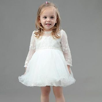 est Princess Baby Girl Hollow Out Long Sleeve Prom Birthday Party Dress Ivory Elegant Baptism Dresses