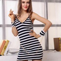 Sexy Striped Strap Costume Ladies Halloween Costumes