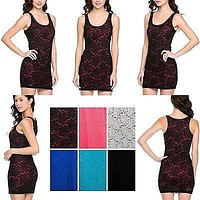 Sexy Scoop Neck Sleevelss Floral Lace Contrast Bodycon Stretch Cocktail Dress