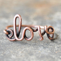Love ring, Copper ring, Oxidized, Custom sized, Wire jewelry