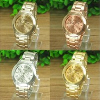 Super Hot New Geneva Ladies Women Girl Unisex Stainless Steel Quartz Wrist Watch Gifts (Color:Gold,Rose Gold,Silver) [8833428300]