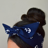 Nautical Blue Anchor Dolly bow Headband, hair bow head band