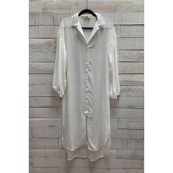 Button Down Tunic Top- Ivory