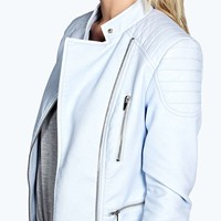 Edith Quilted Cuff Faux Leather Biker Jacket
