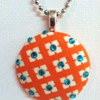 Techno Orange Fabric Button Necklace from Kute As a Button Shop