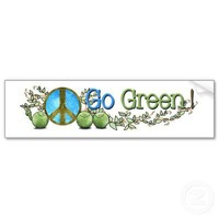 Go Green! - Peace on Earth bumper sticker from Zazzle.com