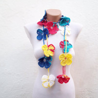 Hand crochet Lariat Scarf Red Blue White Yellow  Flower Lariat Scarf Colorful Variegated Long Necklace  winter fashion