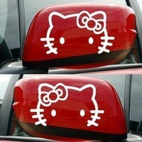 Hello Kitty Bow/Whiskers Decals White Color Outline One Pair