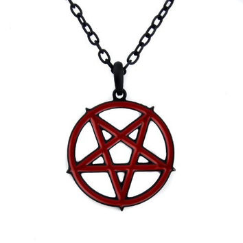 Red Inlay Inverted Pentagram Occult Necklace