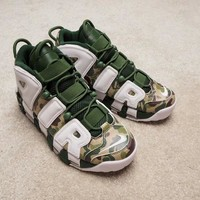 HCXX N294 Nike Air More Uptempo Sports Shoes White Green