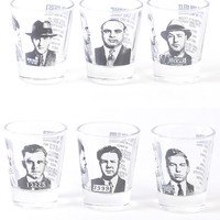 Mobster Mugshots Shot Glass Set