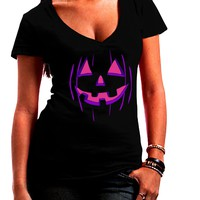 Halloween Glow Smiling Jack O Lantern Juniors V-Neck Dark T-Shirt