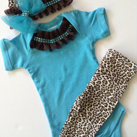 Newborn baby girl take me home hospital turquoise leopard print outfit with matching rhinestone bow beanie